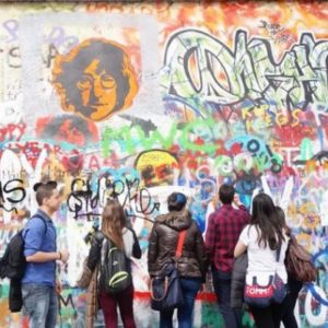 Prague's Graffiti Wall devoted to John Lennon